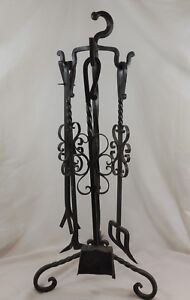Rustic-Fireplace-Tool-Set-5-Piece-Wrought-Iron-37-034-Hand-Crafted