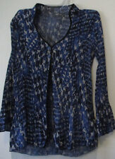 Agora S Blue Accordian Style Top Blouse 3/4 Bell Sleeves Button Front Crinkle