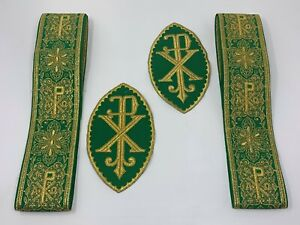 A-amp-o-Px-Cruz-Vestment-Banda-Emblems-Verde-en-Oro-Cojos-4-PC-Lote-Paquete