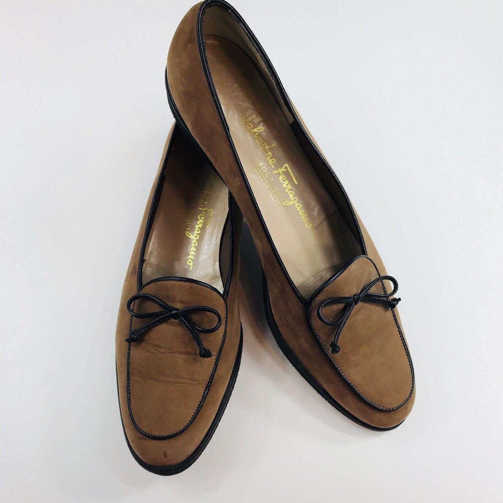 Salvatore Ferragamo Ferragamo Salvatore Tie Größe Loafers Braun Suede Schuhes Damens's Größe ... 5b3212