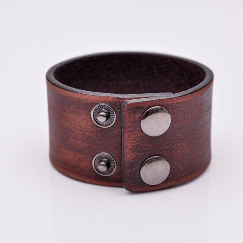 Para hombre hechos a mano Diseñador Vintage Ancho de Cuero Liso Wrap Brazalete Pulsera Marrón
