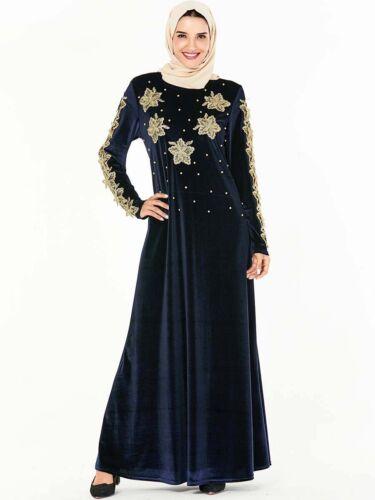 Ramadan Abaya Women Embroidery Maxi Velvet Dress Muslim Kaftan Arab Islamic Robe