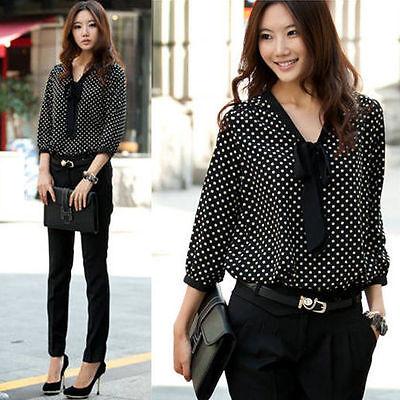 Women Fashion 3/4 Sleeve Chiffon Polka Dot Casual Shirt Top Blouse T-Shirt Slim