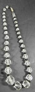 Vintage-Faceted-Clear-and-Black-Crystal-Graduated-Necklace-15-1-2-034-Long