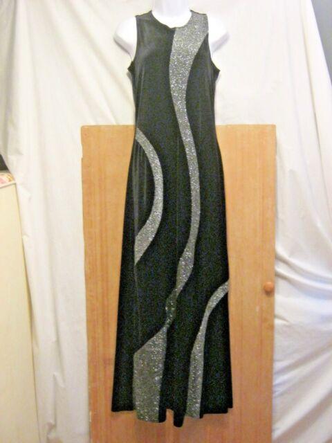 ad69ed00b09 NWT Onyx Nite Long Black Sleeveless Velveteen   Glitter Dress Womens Size 8