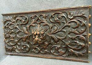 Large antique french black forest low relief wood panel 19th century lion 9lb