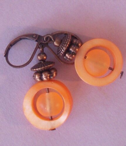ORANGE MOP frosted GLASS COPPER saucer LEVERBACK artisan