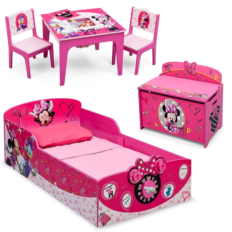 Nouveau Ensemble 3 pièces Minnie Mouse bois bébé lit, coffre à jouets & Table Chaise Ensemble