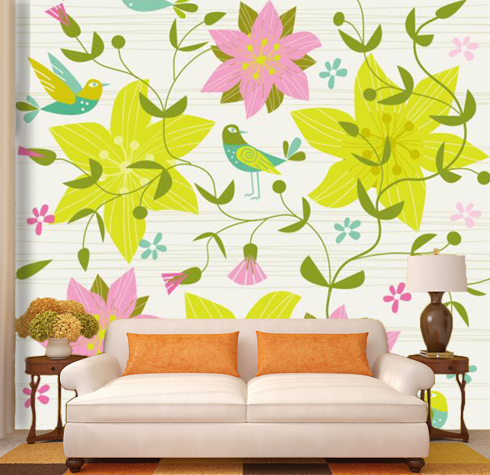 3D Flowers Vine Pattern 2694 Paper Wall Print Wall Decal Wall Deco Indoor Murals
