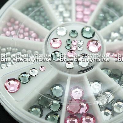 3 Colors 4 Sizes Acrylic Nail Art Decoration Glitter Rhinestones + Wheel #EB-058