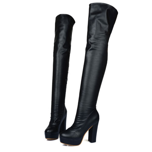 Womens Pleated High Heel Side Zip Riding Over Knee High Boots Shoes ALL US Sz