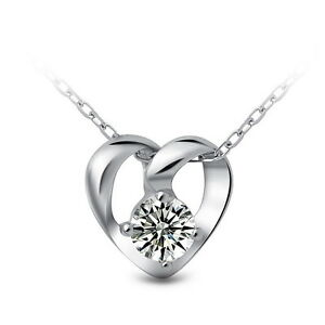 Crystal-Heart-Pendant-925-Sterling-Silver-Chain-Necklace-Womens-Jewellery-Gift