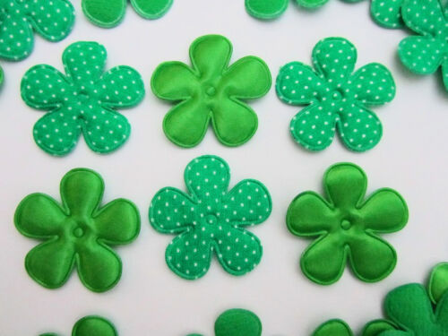 60 Satin /& Polka Dot Green Holiday Fabric Flower Applique//Christmas//Trim//Bow H61