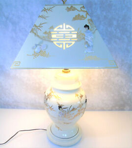 GEISHA-TABLE-LAMP-amp-LAMPSHADE-Mother-Of-Pearl-Japanese-Porcelain-White-Lacquer