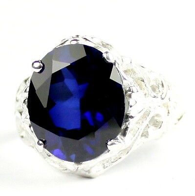 Created Blue Sapphire 925 Sterling Silver Ring SR125