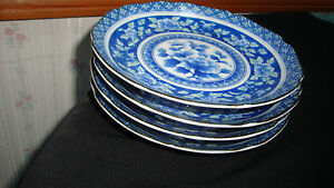 VINTAGE JAPANESE BLUE AND GREEN FLORAL PLATES (4)