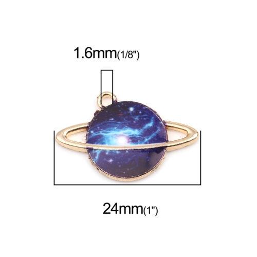 Reino Unido 5 Chapado en Oro Azul Esmalte Galaxy ~ ~ ~ Planeta Marte Dijes//Colgantes ~ 24mm