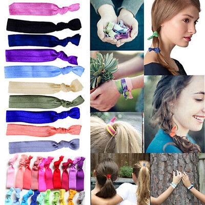 10Pcs WOMEN ELASTIC BRACELETS KNOT RUBBER BAND HAIR TIE HAIRBAND PONYTAIL HOLDER