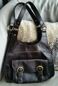 58bc19073a44 Details about M S Autograph Leather Tote Hobo Handbag Dark Brown