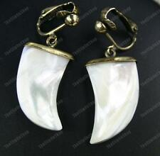 CLIP ON shell MOP HORN EARRINGS vintage brass MOTHER-OF-PEARL cream NATURAL boho