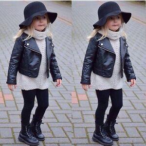New Fashion Kids Girls Black Motorcycle PU Leather Jacket Biker ...