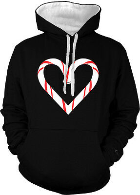 Candy Cane Heart Love Christmas Holiday Festive Decorations Hoodie Pullover
