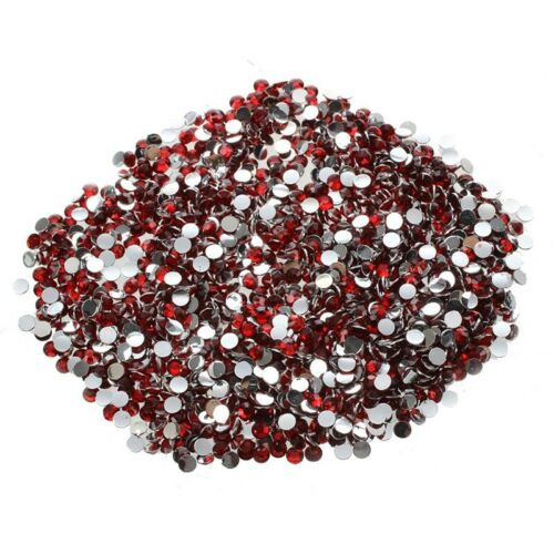 Red S6A8 1000pcs 4mm 14 Cut Flat Back Rhinestone Round Brilliant Loose Beads