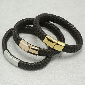 Lamm Leder Armband. Herren Armband Für Ihn Stahl Verschluss Von Roxcs
