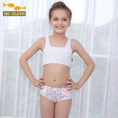 Puberty Girls Training Bras Student Underwear Cotton Fasteners Brassiere  Padded | eBay