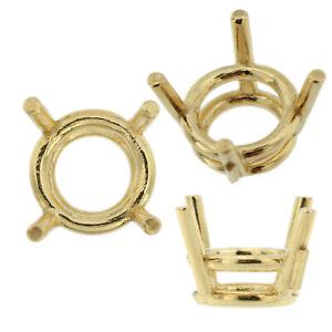 14K-Yellow-Gold-Round-Wire-Basket-Setting-Mounting-4-Prong-0-03ct-5-50ct-USA
