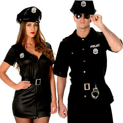 Police Officer Adults Fancy Dress American Cop Ladies Mens Uniform Costumes