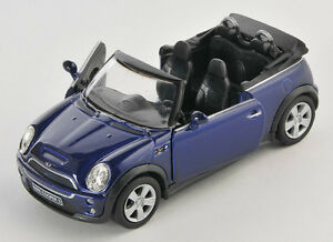 blitz versand mini cooper s cabrio dunkelblau welly modell. Black Bedroom Furniture Sets. Home Design Ideas