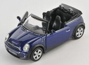 blitz versand mini cooper s cabrio dunkelblau welly modell auto 1 34 neu ovp ebay. Black Bedroom Furniture Sets. Home Design Ideas