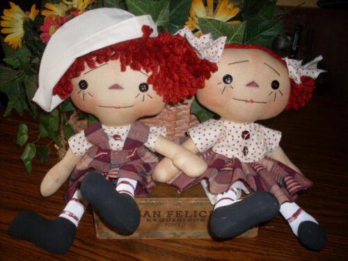 "Primitive Raggedy Ann /& Andy style 14/"" doll Pattern #155 Itsy Bitsy Raggedies"