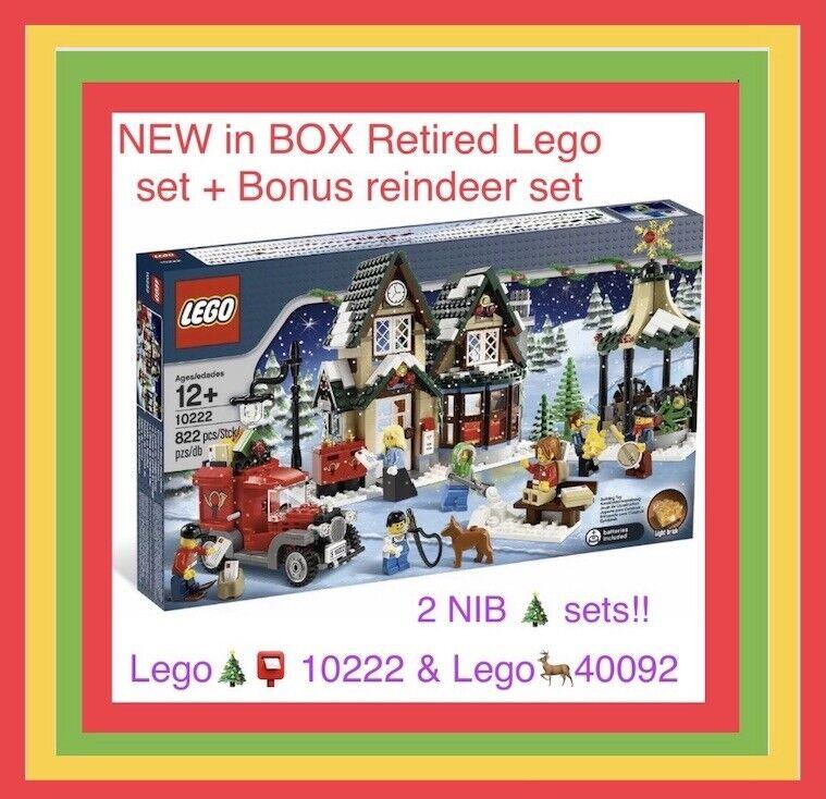 2 LEGO Sets- LEGO 10222 WINTER Village POST OFFICE Christmas Creator City+ 40092