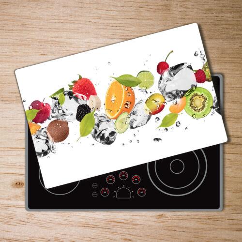 Glas-Herdabdeckplatte Ceranfeldabdeckung Spritzschutz 80x52 Obst und Wasser