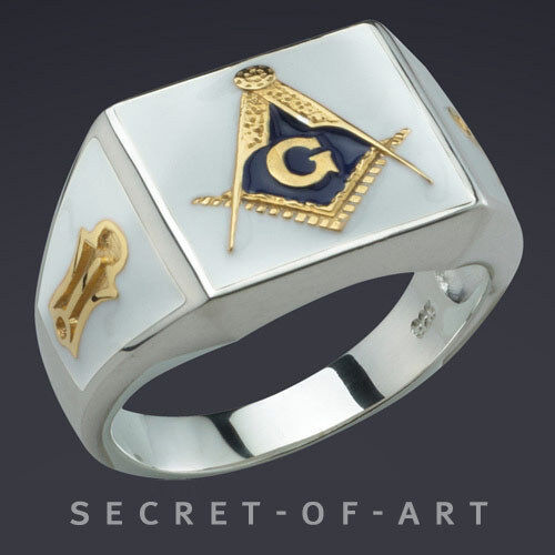 Blue Lodge Masonic Ring Freemason Silver 925 Sterling with 24K Gold-Plated Parts