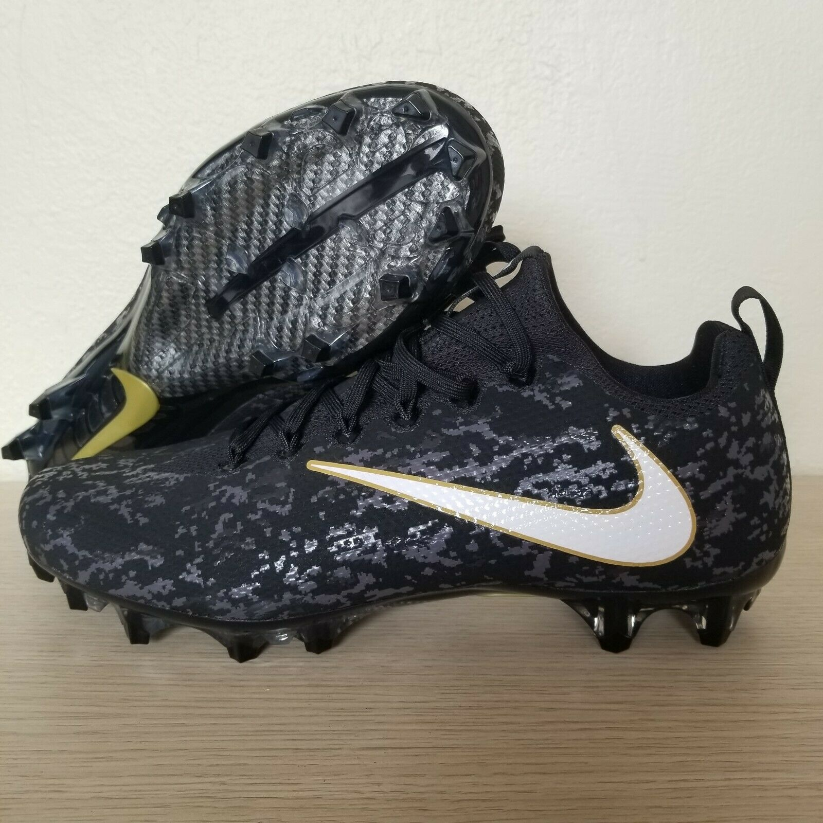 Nike Vapor Untouchable Pro Camo Football Cleats Black gold SZ ( AJ3859-017 )
