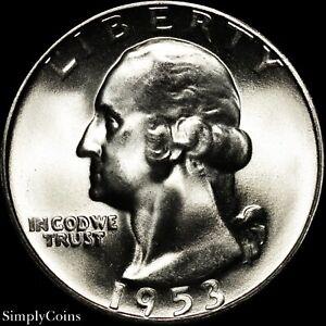 1953-S-Washington-Quarter-GEM-BU-Uncirculated-LUSTER-90-Silver-US-Coin-MQ