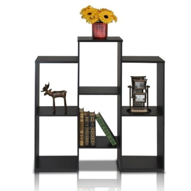 FURINNO Furinno Parsons Staggered Cube Bookcase w/6-Shelves, Black 12221BK NEW