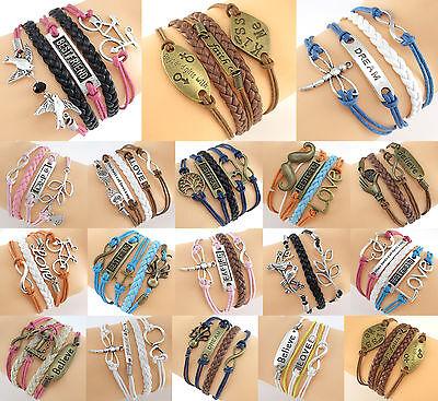 Unisex Handmade Infinity Rudder Love Owl Leather Bracelet For Gift dj799