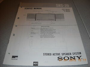 SONY SRS-20 Stereo Active Speaker System Service Manual