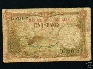 Belgian Congo:P-8,5 Francs, 1930 * Ship & Palm Trees *
