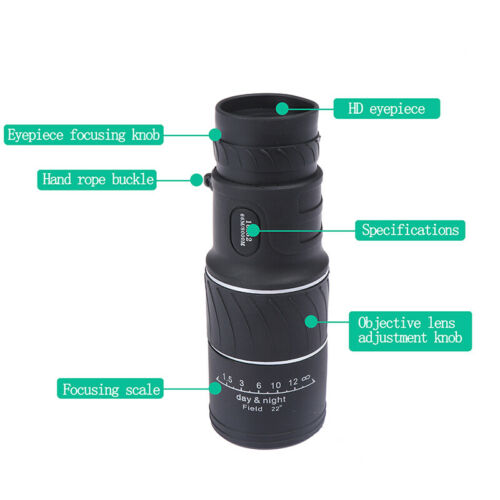 Monocular 16x52 Optics Zoom Lens Camping Hiking Hunting Telescope Scope Outd/_QA