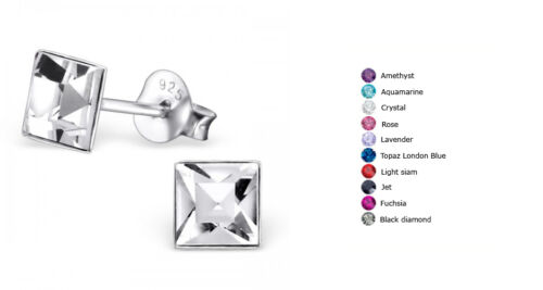 Sterling Silver Square Ear Studs with Crystal