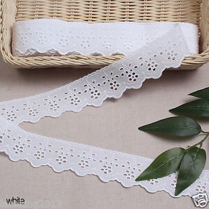 14Yd-Broderie-Anglaise-eyelet-cotton-lace-trim-1-8-034-4-5cm-white-yh409w-laceking