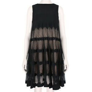 Alaia-Luxurious-Black-Blush-Layered-Trapeze-Dress-FR38-UK10