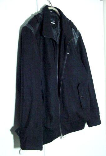 Vtg Rocowear Bomberjacket imitación 3xl de lana 2xl Sz cuero negra Mezcla rSq7Fr