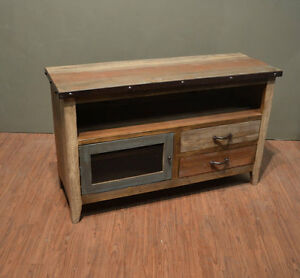 Industrial Rustic Reclaimed Wood 52 Inch Tv Stand Media