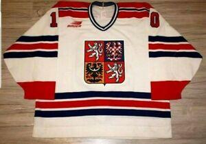 Tschechien-Czech-Eishockey-Trikot-90-Jahre-Grosse-56-Top-Zustand-IIHF-Bauer